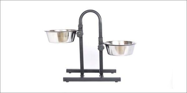 Iconic Pet Adjustable Stainless Steel U Design Double Diner Dog Bowl